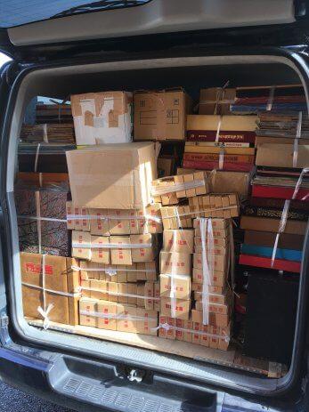 北名古屋市で買い取った本を積んだ荷台