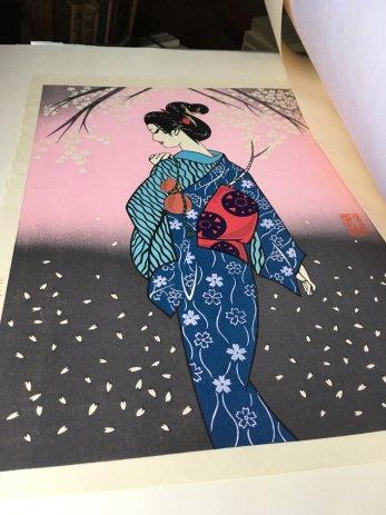 宮田雅之の木版画桜花の女